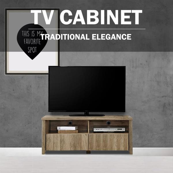 [With Delivery+Installation]SO Dyson 4ft / 1.2m 2 Drawer TV Cabinet / TV console / Tv Rack (Light Oak)