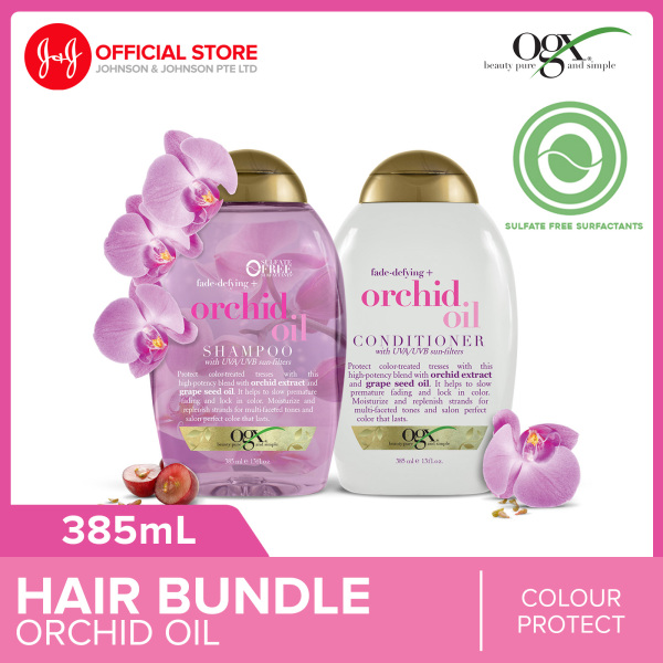 Buy OGX Orchid Oil Fade-Defying Shampoo 385ml + Conditioner 385ml Singapore