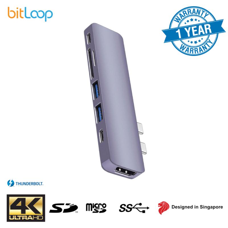 BitLoop Dual USB C 7 Port Hub for MacBook Pro/Air (Thunderbolt 3, USB C, HDMI 4K, 2 x USB 3.0)