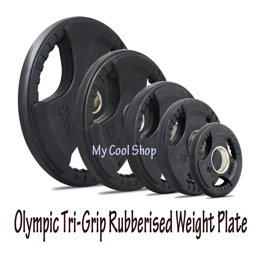 Olympic Rubberised Weight Plates Tri-Grip W Internal Metal Ring (2 Inch) - Dumbbells / Weights / Gym / Fitness / Barbells / Strength Training / Body Building (sg) By My Cool Shop.