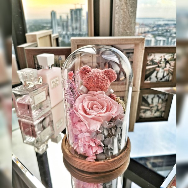 Preserved Dried Flowers | Pink Bear & Rose Glass Dome | Birthday Anniversary Gift