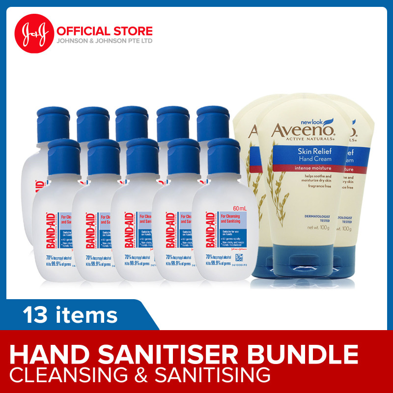 Buy [Family Pack] BAND-AID 70% Isopropyl with Moisturizers 60ml Hand Sanitizer x10 + Aveeno Skin Relief Hand Cream x3 Singapore
