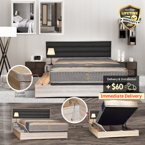 Queen Size Wooden Storage with Side Storage Bedframe (Right)