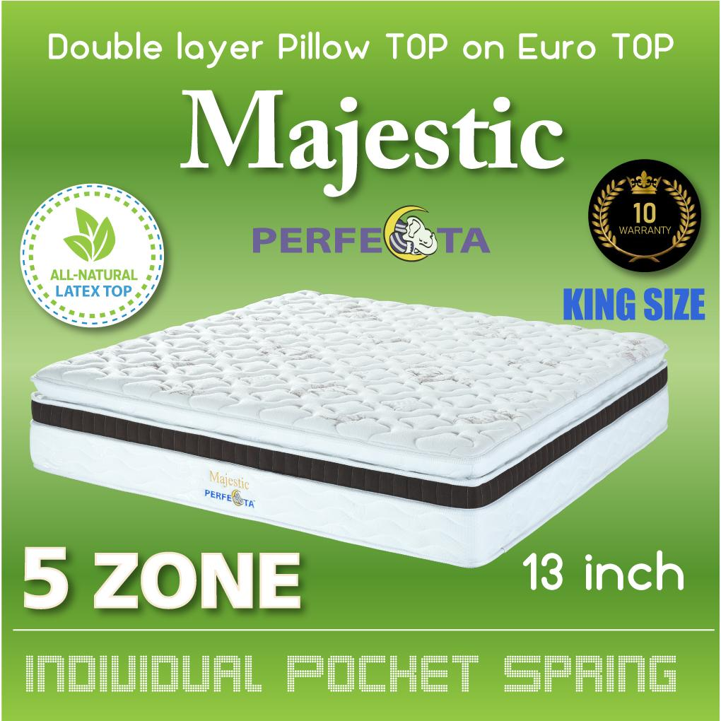 [Introductory Price] King Size - Perfecta Majestic Mattress * Double Layer Pillow TOP on Euro TOP Design * Natural Latex Top * 5 Zone Pocket Spring System