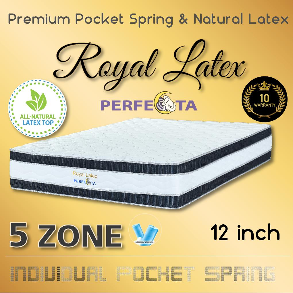 Perfecta Royal Latex * Natural Latex Top * 5 Zone Pocket Spring * Euro TOP Design *12 Inch Mattress