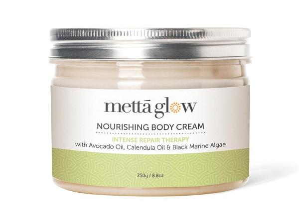Buy Mettaglow Nourishing Body Cream Intense Repair Therapy with Avocado & Calendula Oils, Black Marine Algae & Essential Oils (250g) Singapore