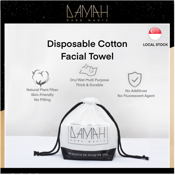 Buy [Made in Korea|SG Official Store] DAMAH Facial Cleansing Tissue (100% Cotton Tissue) Disposable Facial Towel Makeup Remover, Dry and Wet Use, Tissue For Sensitive Skin and Baby Singapore