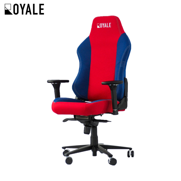 Fabric Royale Gaming Chair in Red/Blue/Silver (Automotive-grade upholstery)