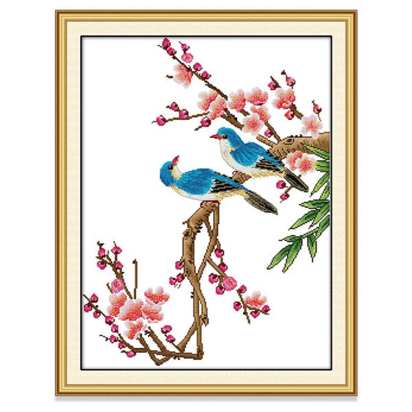 Tranh thêu chữ thập Hoa và Chim Bông hoa Bộ hoàn chỉnh thêu chữ thập DIY 14CT 11CT Cross Stitch Kit Flowers and Birds Design Flower Style