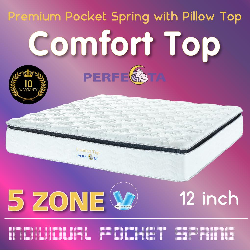 [Introductory Price] King Size - Perfecta Comfort Top 5 Zone Pocket Spring with Pillow TOP 12 Inch Mattress