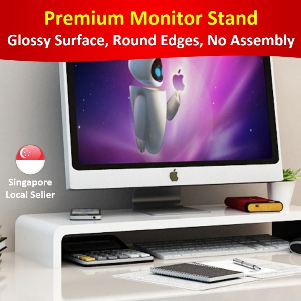 ❤️ Premium Monitor Stand / Laptop Riser - solid wood glossy, round edges corners, no assembly * desktop organiser, dock holder, display bracket for iMac MacBook, PC Notebook Laptop, LCD LED computer screen standing table, sturdy platform save space