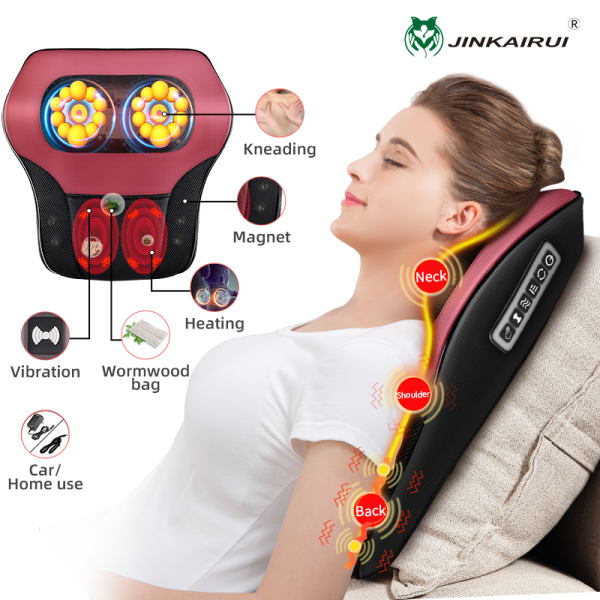 Buy Jinkairui Neck Massager Whole Body Massage Pillow Electric Kneading Heating Vibrator with Megnet Warmwood Hot compress Back Waist Massage Machine Home/Car Use Singapore