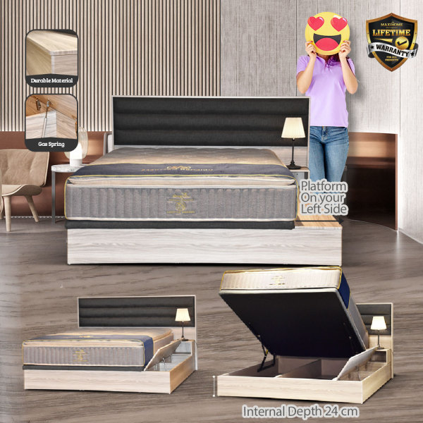 Queen Size Wooden Storage with Side Storage Bedframe (Left)