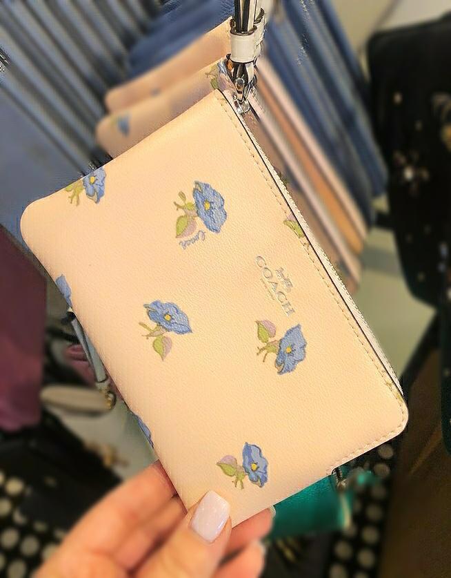 Coach Corner Zip Wristlet with Flower Cherry Print