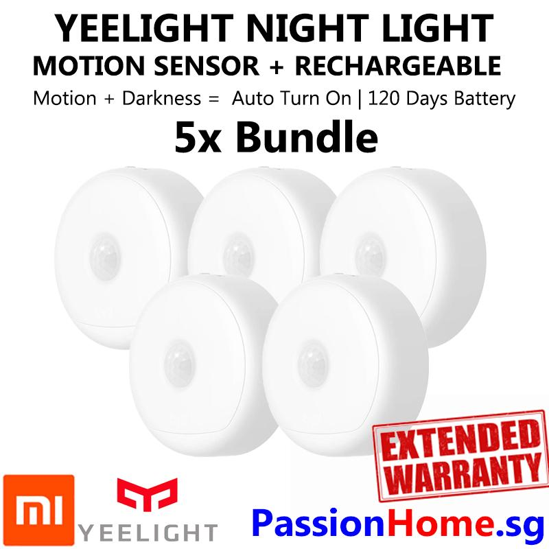 5x Bundle Yeelight Smart Rechargeable Motion Activated LED Nightlight IR Sensor - Plug and Play Night Light - Mi Infra Red Body and Light Sensitive Sensor - USB Power Recharge - Battery lasts 120 Days - Xiaomi Mijia Smart Home Automation - Passion Home