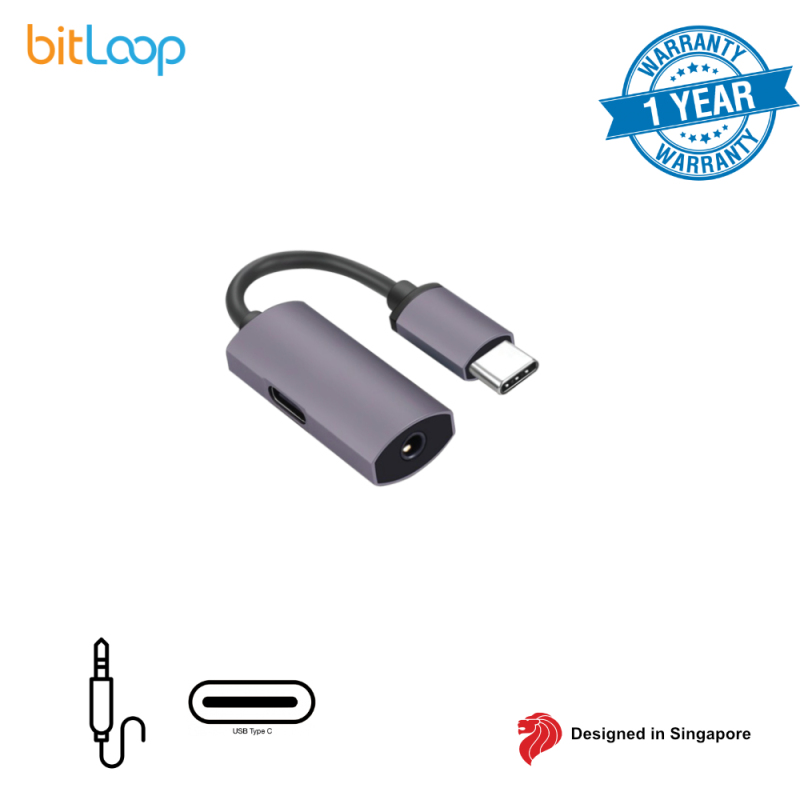 BitLoop USB C to 3.5mm Audio Adapter with Charging Port (Not for iPad Pro)