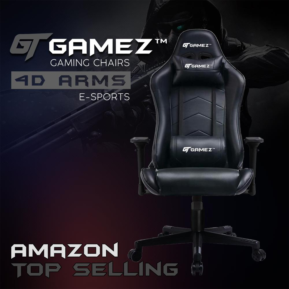 GTGAMEZ Gaming Chair GMZ-GC-YG-726 Racing Video Game Chair with Ergonomic Backrest and Seat Height Adjustment and Pillows Recliner Swivel Rocker Headrest and Lumbar Sports Chair