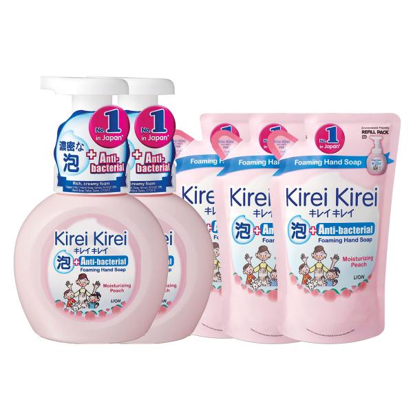 Buy Kirei Kirei Anti-Bacterial Foaming Hand Soap Moisturizing Peach 250ml x2 + Kirei Kirei Anti-Bacterial Foaming Hand Soap Moisturizing Peach Refill 200ml x3 Singapore