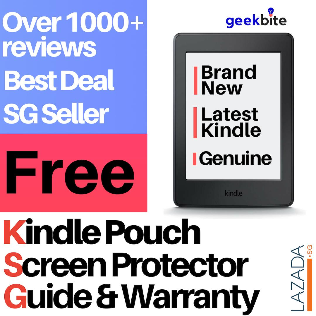 Cheapest GeekBite Amazon Kindle Paperwhite 4 + Kindle Premium Pouch +  Screen Protector (Wifi/Special Offers)
