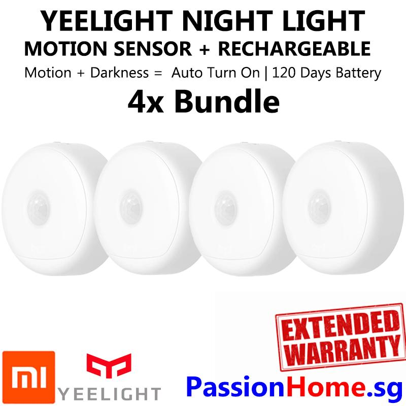 4x Bundle Yeelight Smart Rechargeable Motion Activated LED Nightlight IR Sensor - Plug and Play Night Light - Mi Infra Red Body and Light Sensitive Sensor - USB Power Recharge - Battery lasts 120 Days - Xiaomi Mijia Smart Home Automation - Passion Home