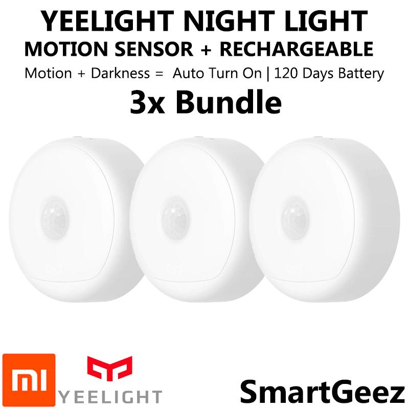 3x Bundle Yeelight Smart Rechargeable Motion Activated LED Nightlight IR Sensor - Plug and Play Night Light - Mi Infra Red Body and Light Sensitive Sensor - USB Power Recharge - Battery lasts 120 Days - Xiaomi Mijia Smart Home Automation - SmartGeez