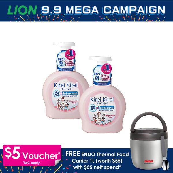 Buy Kirei Kirei Anti-Bacterial Foaming Hand Soap Moisturizing Peach 450ml x 2 Singapore