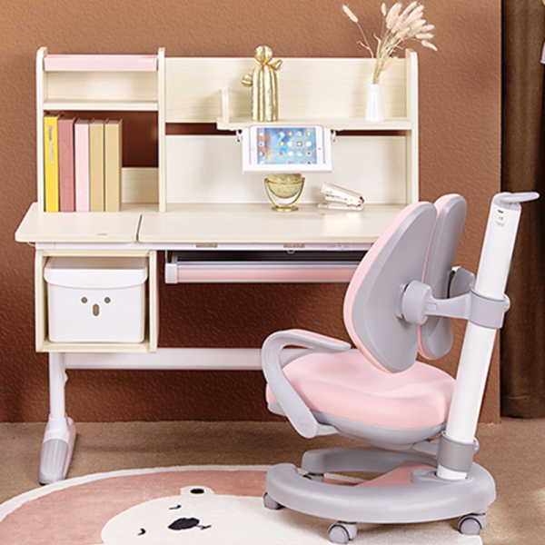 Study Table for Kids and Study Chair - Ergonomic Adjustable Desk Chair Bundle - Children Study Table with Shelf- Wooden Kids Table and Chair Set with Drawer (Macaron Pink)