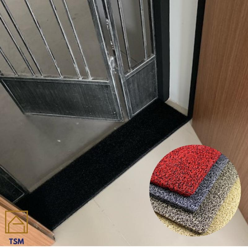 TSM BTO HDB PVC Web Coil Floor Mat Door Gap Entryway 120cm by 25cm 15mm Thickness Prevent Dust Pest Single Duo Color Black Grey Green Red