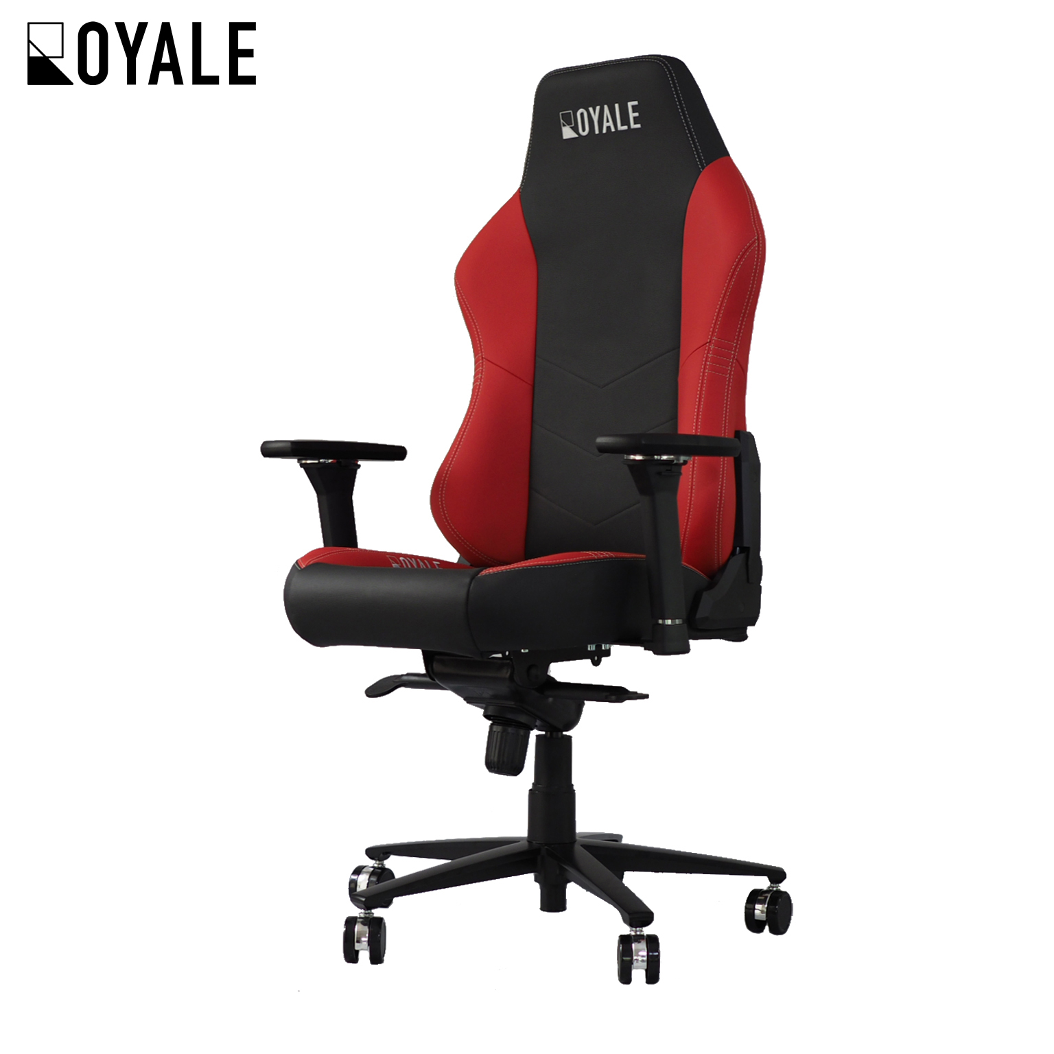 Genuine Cowhide Leather Royale Gaming Chair in Black/Red/Silver (Automotive-grade upholstery)