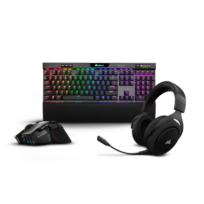 Corsair Gaming Keyboard, Mouse and Mouse Mat Bundle: Corsair Ironclaw RGB Wireless Gaming Mouse + Corsair K70 MK.2 RGB Gaming Mechanical Keyboard (Cherry MX Blue) + Corsair MM300 Extended Gaming Mouse Mat Singapore