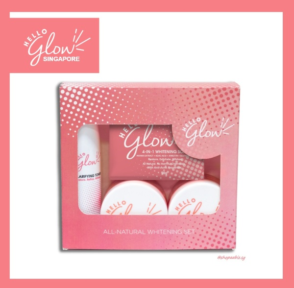 Buy Hello Glow 4 in 1 Whitening Facial Set - All Natural Halal Skincare Singapore