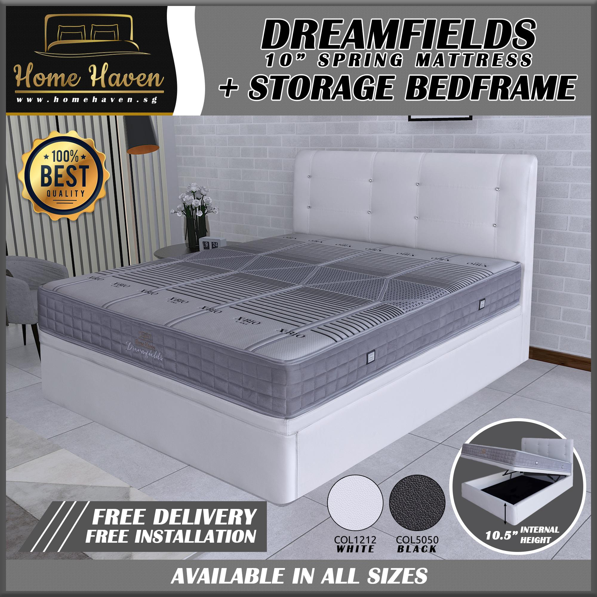 HomeHaven® 8 Inches Spring Mattress with Bigger Storage Bed Frame - DreamFields