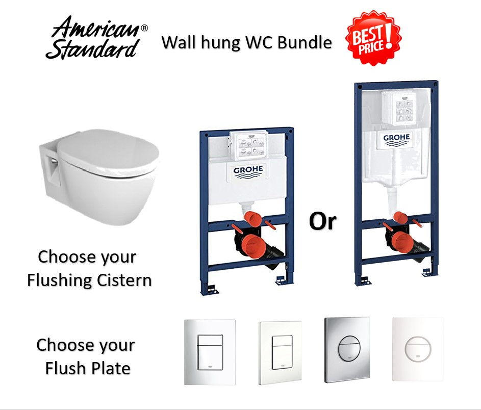 American standard Nuovo Wall Hung Water Closet Bundle 2