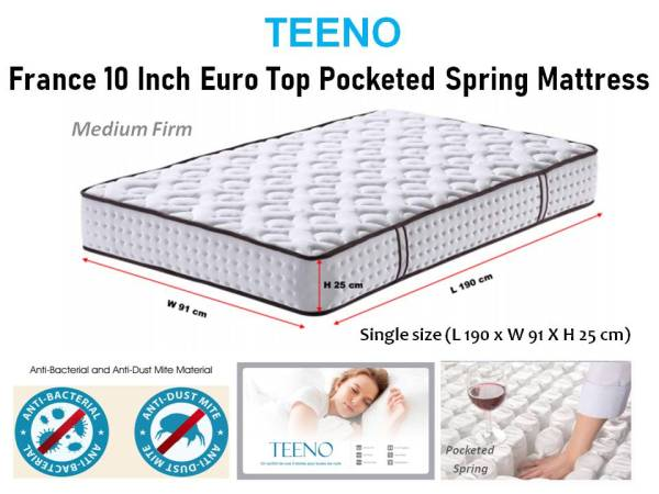 TEENO FRANCE *10 INCHES SINGLE/QUEENS POCKETED SPRING MATTRESS