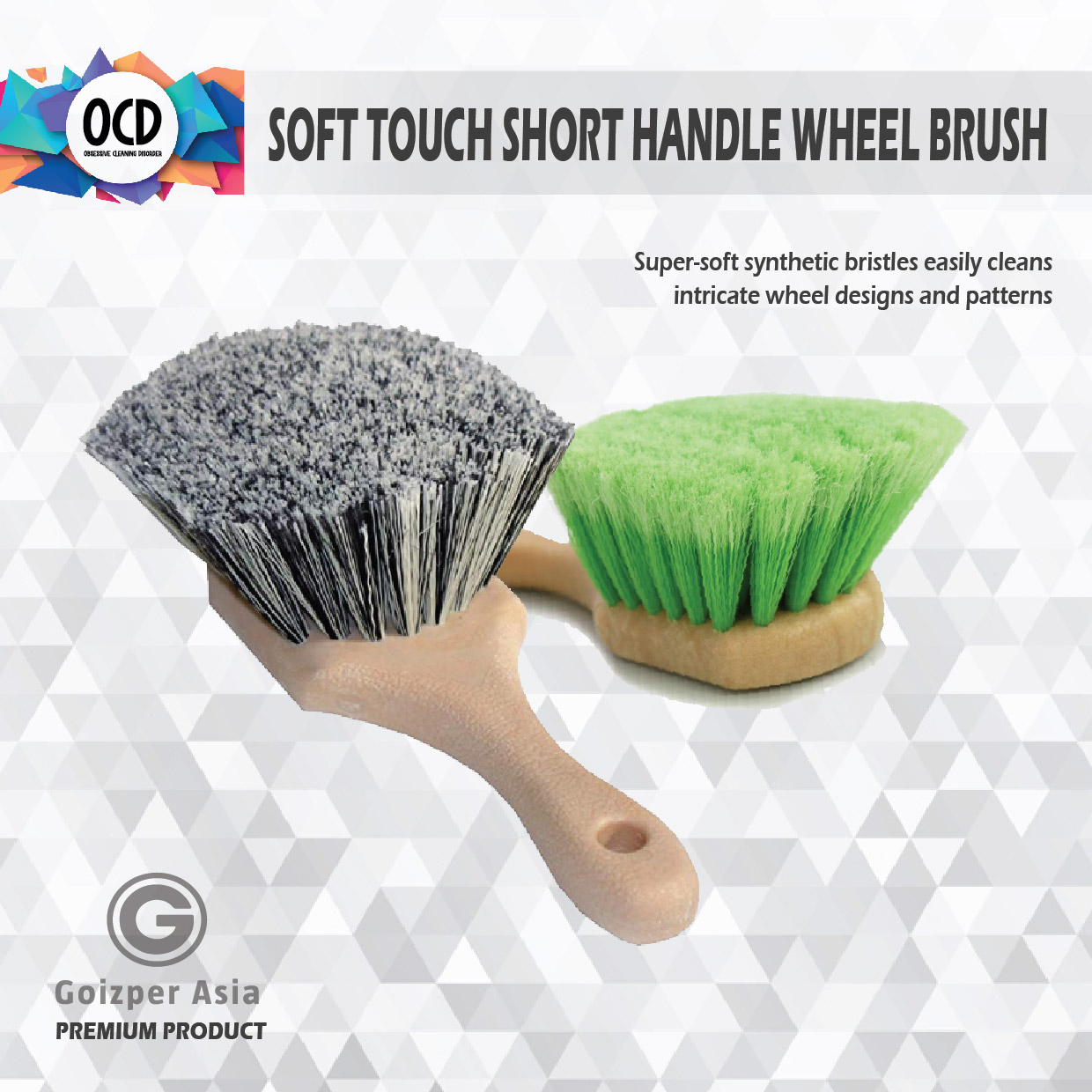 Ocd Soft Touch Short Handle Wheel Brush - Super-Soft Synthetic Bristles Easily Cleans Intricate Wheel Designs And Patterns.