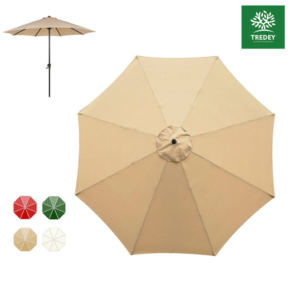 TREDEY 2.7M Patio Parasol Umbrella Replacement Top Canopy For 8 Ribs Outdoor Umbrella