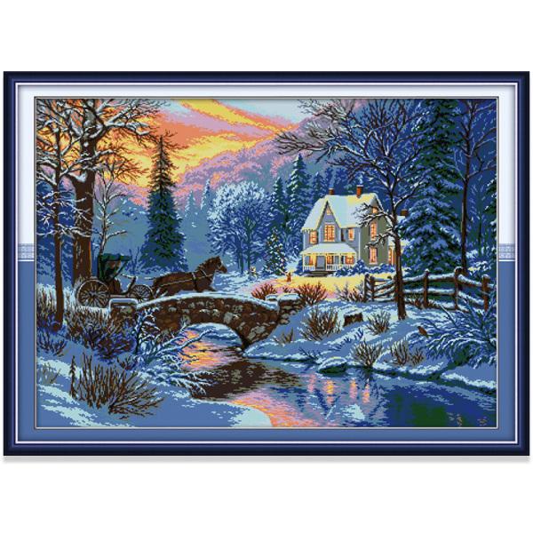 Tranh thêu chữ thập Nhà kiểu nông thôn ven sông Phong cảnh DIY 14CT 11CT Cross Stitch Kit Riverside Cottage Design Landscape Style