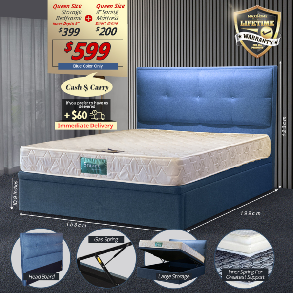 Storage Bedframe + 8 Spring Mattress Bundle