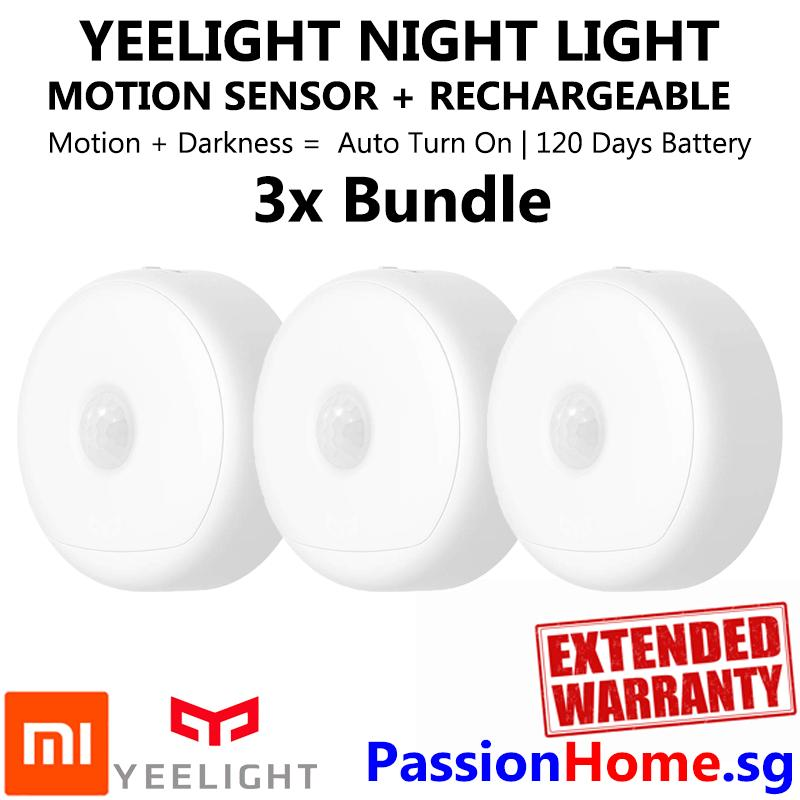 3x Bundle Yeelight Smart Rechargeable Motion Activated LED Nightlight IR Sensor - Plug and Play Night Light - Mi Infra Red Body and Light Sensitive Sensor - USB Power Recharge - Battery lasts 120 Days - Xiaomi Mijia Smart Home Automation - Passion Home
