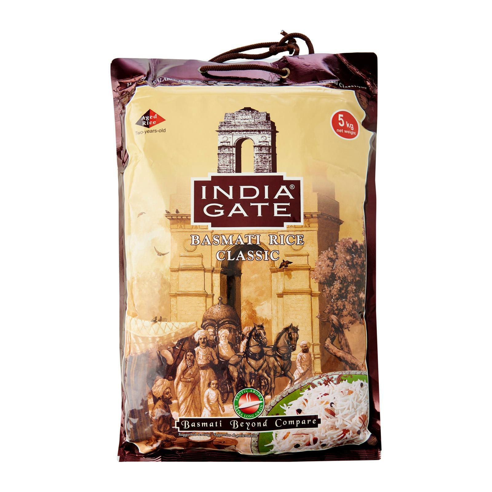 Indiagate Classic Basmati Rice 5 Kg,2 Years Aged, Grown In India Farmland, Handpicked, Tasty And Suitable For Daily Consumption, Gmo Free, 99% Fat Free, Cholesterol Free, Salt Free, Gluten Free, Low Gi Suitable For Diabetics By Merlion Mart.