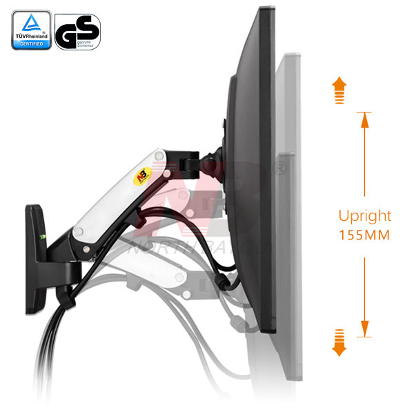 F120 Monitor Arm Bracket LCD Monitor Arm, International Vesa Compatible, 0-6.5kg, Cable Management Included