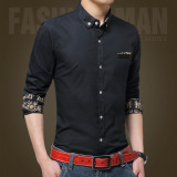 Review Men Casual Formal Business Dress Shirt Long Sleeve Male Solid Slim Fit Shirt On China
