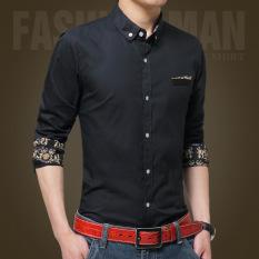 Cheap Men Casual Formal Business Dress Shirt Long Sleeve Male Solid Slim Fit Shirt Online