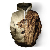 Latest Men Hoodies Hip Hop Sweatshirt Funny 3D Lion Tracksuit Pullovers