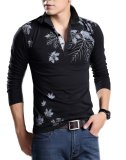 Deals For Men Plus Size Tops Fashion Turn Down Collar Long Sleeve Maple Leaves Printing T Shirts Black Intl