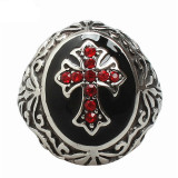 Sale Mens Cubic Zirconia Stainless Steel Ring Vintage Celtic Cross Red Black Silver China Cheap