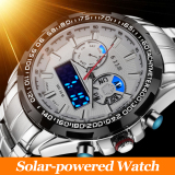 Latest Mens Fashion Saving Energy Solar Powered Environmental Waterproof Watch Led Luminous Silver White