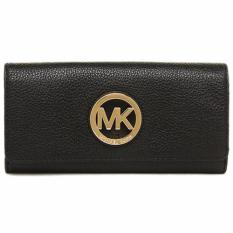 Discount Michael Kors Fulton Flap Carryall Leather Wallet Black 35F0Gfte1L Singapore