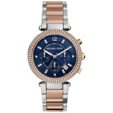 Compare Michael Kors Parker Chronograph Blue Dial Two Tone Ladies Watch Mk6141 Prices