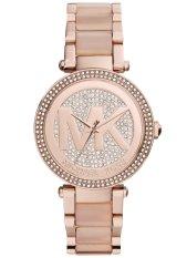 Sales Price Michael Kors Parker Crystal Pave Logo Dial Rose Gold Tone Ladies Watch Mk6176